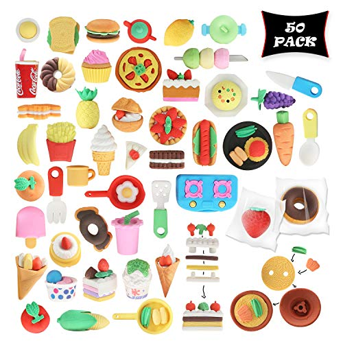 Smart Novelty Food Puzzle Erasers Kids Party Favors Classroom Prizes - Food Eraser Assortment - Bulk Pack Of 50 Cute Erasers