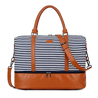 BAOSHA HB-28 Ladies Women Canvas Travel Weekender Overnight Carry-on Shoulder Duffel Tote Bag With PU Leather Strap