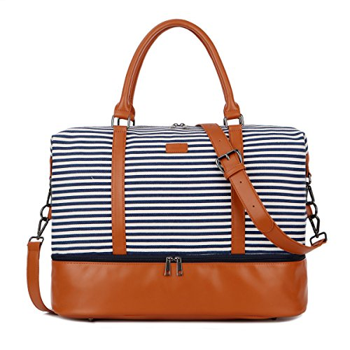 - BAOSHA HB-28 Ladies Women Canvas Travel Weekender Overnight Carry-on Shoulder Duffel Tote Bag With PU Leather Strap (Blue Strips with Shoe Compartment)