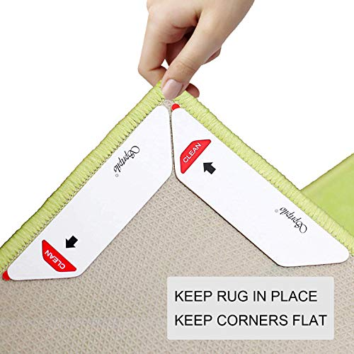 Sprtpilo Rug Gripper, Anti Curling Rug Gripper, Non Slip Rug Gripper, Rug Grippers for Hardwood Floors, Extra Strong Grip,Keep Rug in Place and Keep Corners Flat. Premium Rug Corner Grippers, 8 Pieces