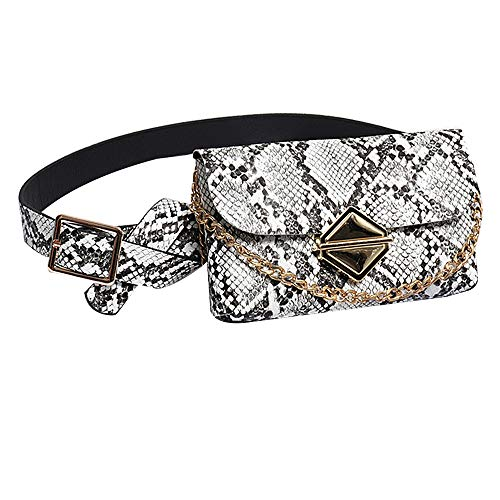 CLARA Women Fashion Snakeskin Pattern Waist Pack Small PU Leather Fanny Pack with Chain Shoulder Strap White