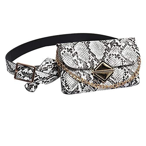 - Danse Jupe Women Snakeskin Waist Pack Mini Faux Leather Chain Crossbody Purse White