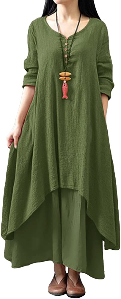 Romacci Women Boho Dress Casual Irregular Maxi Dresses Layer Vintage Loose Long Sleeve Linen Dress with Pockets