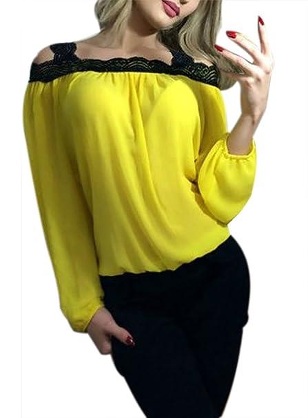 Camisetas Mujer Manga Larga Tirantes Cuello Barco Hombros Descubiertos Gasa Splicing Encaje Suelto Elegantes Fashion Casual Primavera Otoño Camisas Blusas ...