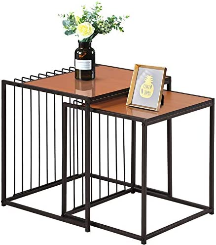 VECELO Industrial Nesting Coffee Table Set of 2,Stacking Side or End for Living Room Balcony Home and Office, Light Cheery