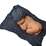 Ularmo Newborn Baby Outfit Infant Crochet Knitted Cap Costume Photography Prop (dark blue)