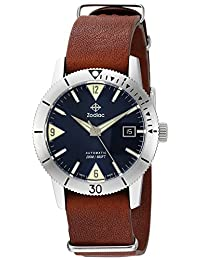 Zodiac Men's 'Super Sea Wolf 53 Skin' Swiss Automatic Stainless Steel and Leather Casual Watch, Color:Brown (Model: ZO9204)