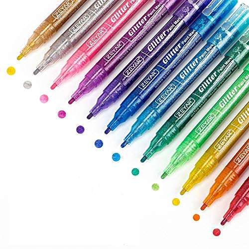 ZEYAR Glitter Paint Pens, Water Based Acrylic Ink, Fine Point, 12 Glitter Colors, Works on Gift Card, Poster, Album, Christmas Card and More