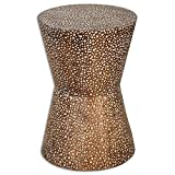 Bronze Drum Coffee Table Metal End Table - Drum-Shaped End Table - Bronze