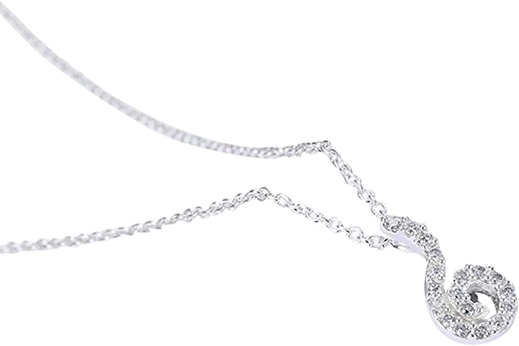 Aokarry 925 Sterling Silver Women Necklace Black and White Silver Chain Length 40+5 cm