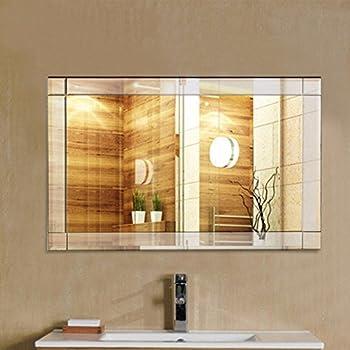 TANGKULA Wall Mirror Vanity Mirror Home Bathroom Office Bedroom Frameless Hanged Rectangle Make Up Mirror (Wall Mounted Rectangular)