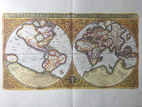 - Weltkarte Copperplate Engraving Mercator-Hondius 1587
