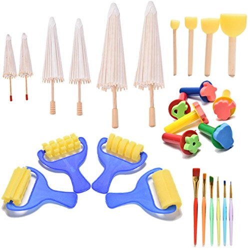6 Pcs Mini Paper Parasols DIY Umbrella with Paint Brushes Foam Brushes for Graffiti Drawing by OBANGONG