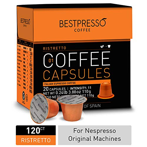 Bestpresso Coffee for Nespresso Original Machine 120 pods Certified Genuine Espresso Ristretto Blend(High Intensity), Pods Compatible with Nespresso Original 60 Days Satisfaction Guarantee
