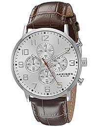 Akribos XXIV Men's AK854SSBR Round Silver Dial Chronograph Quartz Strap Watch