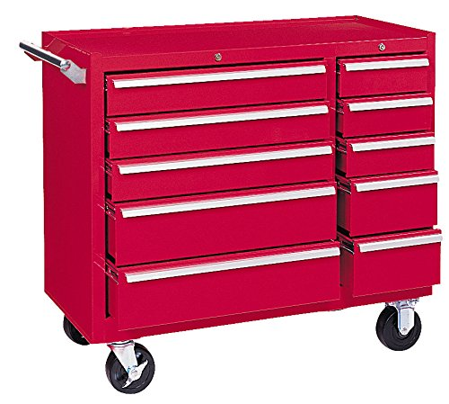 Kennedy Manufacturing 310XR 39'' 10-Drawer Industrial Double-Bank Roller Cabinet, Industrial Red by Kennedy Manufacturing