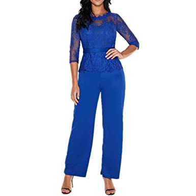 3f0d7ce43b0d Lover-Beauty Damen Jumpsuit Schulterfrei Lang Hosen Overall Playsuit Hoher  Taill Spielanzug mit Gurt