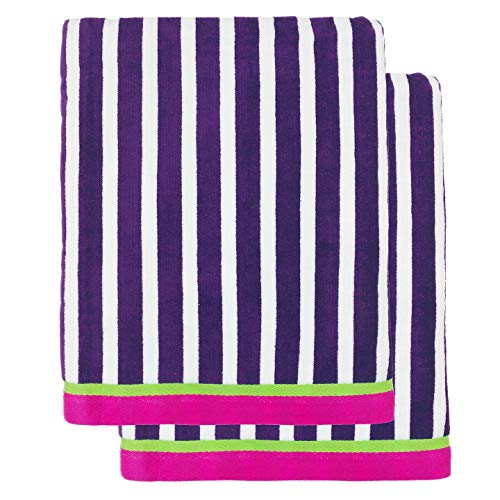 Kaufman - Oversized 40 X 70 Stripe Color Velour Super Soft Beach and Pool Towel Set of 2 Pieces Easy Care, Extra Large (Purple)