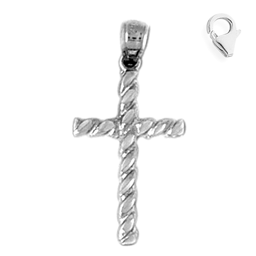 JewelsObsession Sterling Silver 27mm Cross Charm w//Lobster Clasp