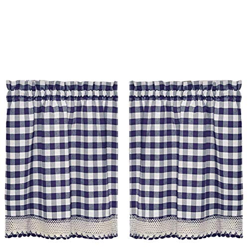 GoodGram Buffalo Check Plaid Gingham Custom Fit Window Curtain Treatments Assorted Colors, Styles & Sizes (36 in. Tier Pair, Navy)