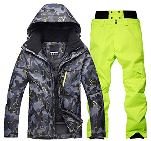 (PENER Men's Thick Camouflage Ski Jackets Windproof Waterproof Snowboard Jacket and Pants Set (S, Style 21(Black Gray Camouflage + Fluorescent Green Pants))