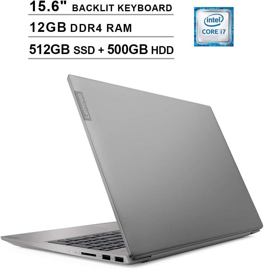 Lenovo Ideapad S340 15.6 Inch FHD 1080P Touchscreen Laptop, Intel 4-Core i7-8565U up to 4.60GHz, GeForce MX230 2GB, 12GB DDR4 RAM, 512GB SSD (Boot) + 500GB HDD, Backlit KB, Bluetooth, Windows 10, Grey