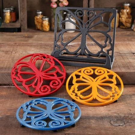 The Pioneer Woman Timeless Beauty Cast Iron Cookbook Holder and 3-Piece Trivet Set by The Pioneer Woman