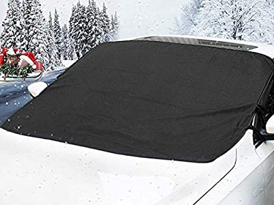 Car Windshield Cover for Ice and Snow -Wiper Protector -Waterproof Car Windshield Forst Cover for SUV, Vans, Truck Universal Cars- Sturdy-Self Storage Pouch-Keep Your Vehicle Exterior Ice Free & Clean