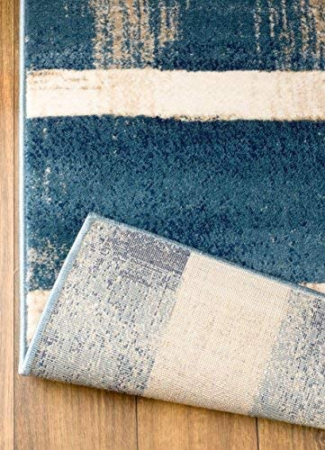 MADISON COLLECTION 404 Modern Abstract Blue Area Rug Clearance Soft and Durable Pile. Size Option , 5 x7