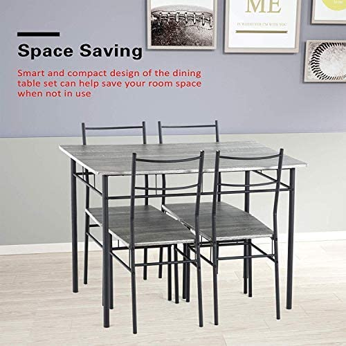 Mecor 5 Piece Dining Table Set, Vintage Wood Tabletop Kitchen Table w 4 Chairs with Metal Frame, Grey