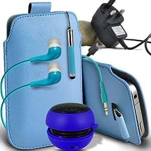 ONX3 Nokia Asha 500 Leather Slip cuerda del tirón de la PU de protección en la bolsa del lanzamiento rápido con Mini capacitivo Retractabletylus Pen, 3.5mm en auriculares del oído, mini altavoz recargable Cápsula, Micro USB CE aprobó 3 Pin Cargador (Baby Blue)