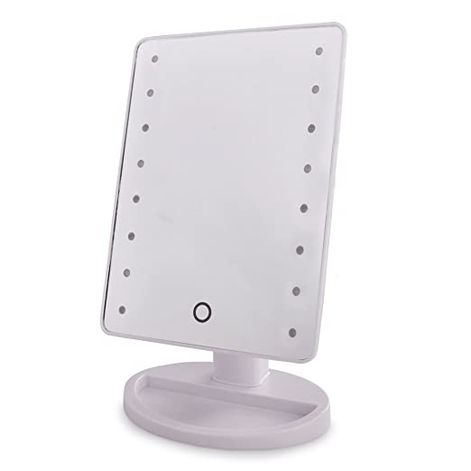 Contemporary Rectangular White Battery Operated Touch Switch LED - White vanity mirror with lights