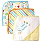 Luvable Friends 3 Pack Embroidered Sayings Hooded Towels, Yellow