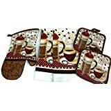 Coffee Theme Kitchen Linen Set (2041) (Includes: one oven mitts, two dish towels, and two pot holders)