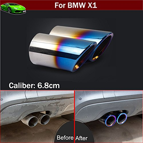 - 2pcs Blue Color Stainless Steel Exhaust Muffler Rear Tail Pipe Tip Tailpipe Extension Pipes Custom Fit for BMW X1 2009 2010 2011 2012 2013 2014 2015 2016 2017 2018 2019 2020