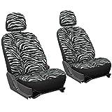 zebra stripe seat covers - OxGord 6pc Zebra Animal Print - Velour - Bucket Seat Cover for Car, Truck, Van, SUV - Gray/ Black