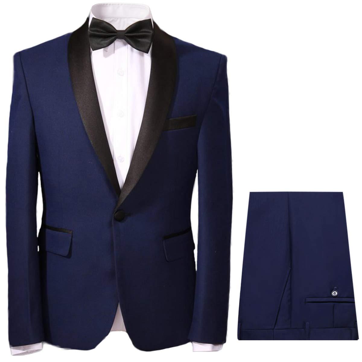 YOUTHUP Blu Cena Suit for Men Tuxedo Tux Giacca e Pantaloni Slim Fit Scialle Bavero Abito da Sera