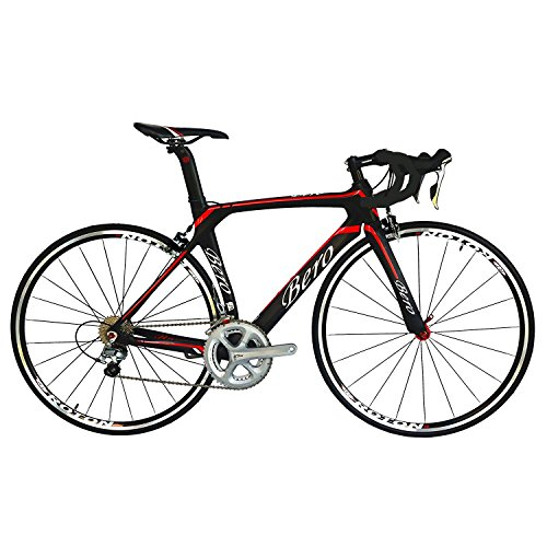 BEIOU 700C Road Bike Shimano 105 5800 11S Racing Bicycle T800 Carbon Fiber Bike Aero Frame Ultra-Light 18.3lbs CB013A-2 (Matte Black&Red, 500mm)