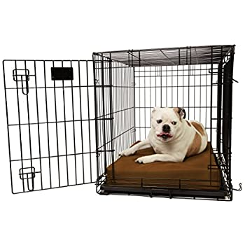 Image of Home and Kitchen Orthopedic 4' Dog Crate Pad by Big Barker. Waterproof & Tear Resistant. Thick, Heavy Duty, Tough, Washable Cover. Luxury Orthopedic Support Foam inside. Sized to perfectly fit inside standard crate sizes. Made in USA.