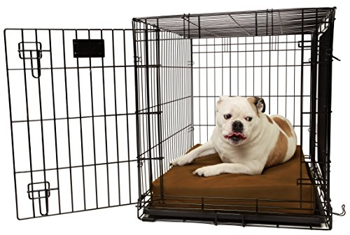 Orthopedic 4'' Dog Crate Pad by Big Barker - 36'' x 24''. Waterproof & Tear Resistant. Thick, Heavy Duty, Tough, Washable Cover. Luxury Orthopedic Support Foam inside. Made in USA. Sized to perfectly fit inside a 36'' x 24'' crate. by Big Barker