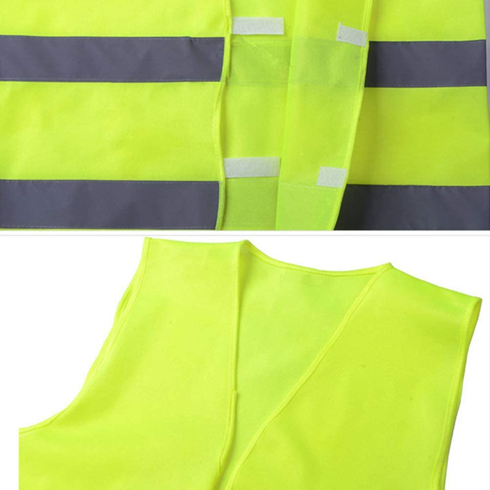 DEBBD 4//10 Pieces Warnwesten Neon Green orange Ultra-Reflective Safety Vests Unisex Hohe Sichtbarkeit Warnweste Reflektierende Weste Rei/ßverschluss Suitable for Sanitation Workers Safety