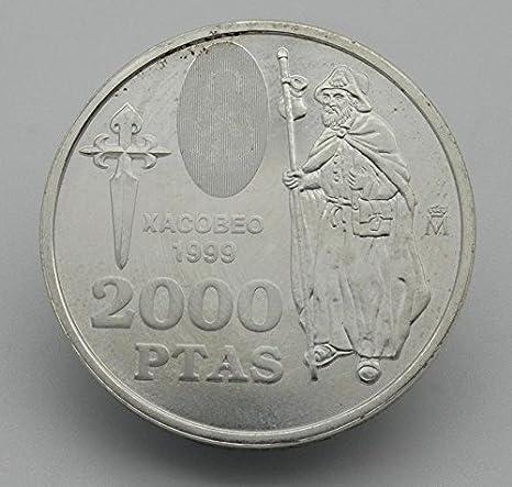 Desconocido Moneda de 2000 Pesetas de Plata Edición San Jacobeo del Año 1999: Amazon.es: Juguetes y juegos