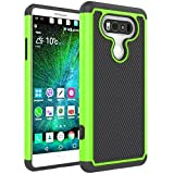 Berry Accessory(TM) [Drop Protection] Protective Case [Shock Proof] [Dual Lawyer] Hybrid Defender Armor Case Cover For LG V20 With Free Berry logo stand holder (Green)