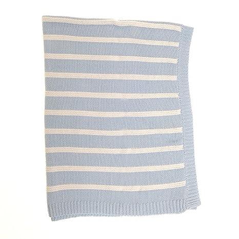 Zippy - Manta reversible, en azul y blanco rayas para guardería cuna y el cochecito, 100% algodón peinado de punto, regalo perfecto: Amazon.es: Bebé