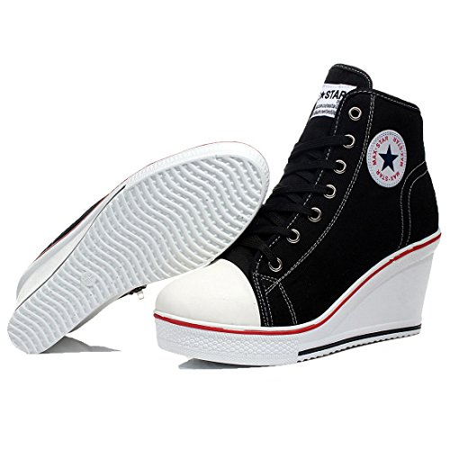 ca8e03fa2f24 mewow Womens Girl s Casual Plus Size High Top Wedge Heel Canvas Shoes  Fashion Sneaker