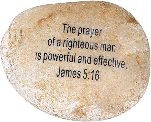 Scripture Stone (Extra Large Engraved Inspirational Scripture Biblical Natural Stones Collection - Stone XII : James 5:16 :