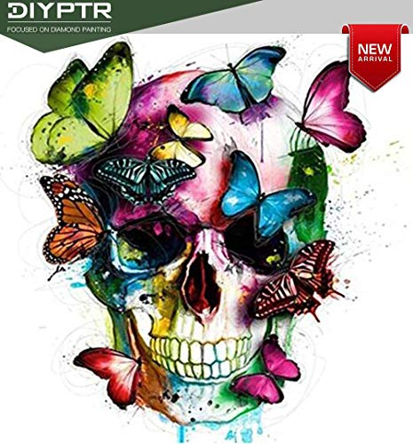 DIY 5D Diamond Painting Full Drill for Adults, Round Diamond Rhinestone Skull Butterfly Embroidery Dotz Kit Arts Craft Home Wall Decor, 11.8 x 15.8 inch