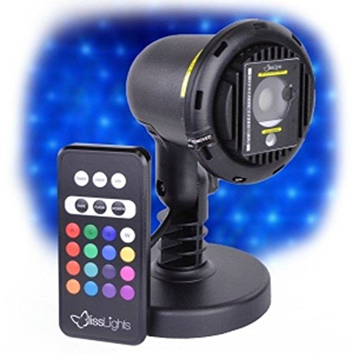Blue Laser Light Projector by BlissLights Commercial Grade Indoor or Outdoor Laser Star Spotlight Includes Wireless Remote, 16 LED Accent Colors, Timer, Stake, and Thousands of FireFly Pinpoints