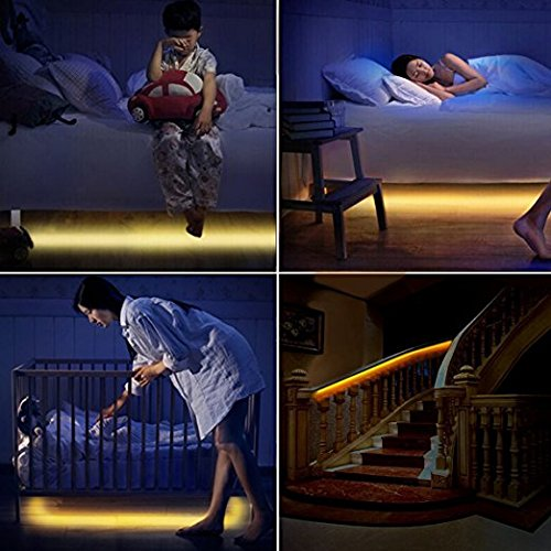 Motion Activated LED Bed Light Strip White Waterproof Battery USB Automatic Off Smart Night Light Illumination with Motion Sensor – Great Closet Light