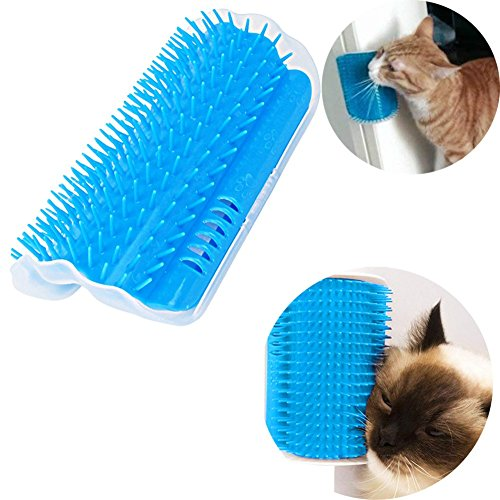 NEEDOON Cat Corner Groomer with Catnip Pouch,Cat Self Groomer Wall Corner Massage Groomer Cat Self Grooming Brush